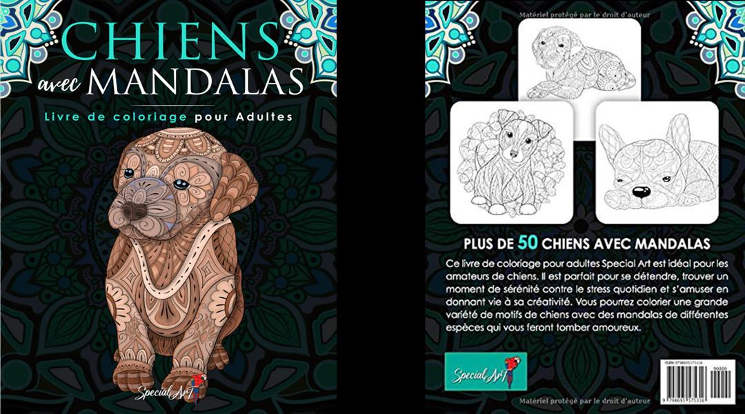 livre de coloriage mandala chien